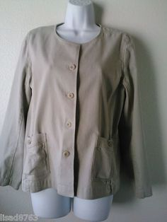 Eileen Fisher Woman SZ M Jacket Taupe Blazer Cotton Stretch Button Frnt LS Tan