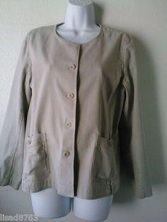Eileen Fisher Woman SZ M Jacket Taupe Blazer Cotton Stretch Button Frnt LS Tan