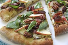 Fall Pizza - Pesto & Applewood Bacon w/ Arugula-Apple Salad by thecafesucrefarine #Pizza #Bacon #Arugula #thecafesucrefarine
