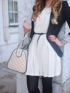 Big pleats, beaded collar, quilted duffel, skinny belt and blazer // Fi-Fashion & Imagination