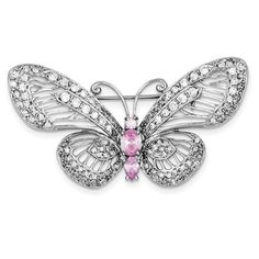 Jewelry Adviser Tie Pins Sterling Silver Rhodium-plated Pink and Clear CZ Butterfly Pin Butterfly Pin, Pink Stone, White Stone, Diamond Brooch, Brooch Pin, Jewelry Design, Women Jewelry, Sterling Silver, Brooches
