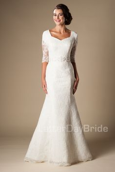 Jaqueline - lace fit and flare- 3/4 sleeves - beaded waistband - pearls- $995 - found at Gateway Bridal in Salt Lake City