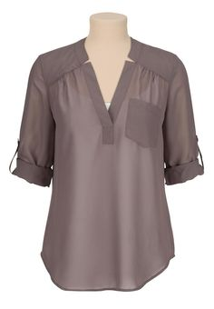 sleeve chiffon blouse with pocketmaurices offers a wide selection of women's clothing in sizes including jeans, tops, and dresses. Mode Glamour, Fashion Outfits, Womens Fashion, Dress Patterns, Blouse Designs, Plus Size Fashion, Tunic Tops, Clothes For Women, How To Wear