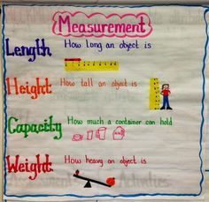 Measurement anchor chart and unit -- make this with your kindergarteners to introduce the different terms of measurement. Can also later be used for reference when doing measurement activities in class. Measurement Kindergarten, Kindergarten Anchor Charts, Measurement Activities, Math Measurement, Preschool Math, Math Classroom, Kindergarten Math, Teaching Math, Math Activities
