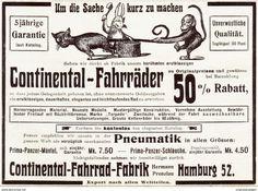 Original-Werbung/ Anzeige 1907 - CONTINENTAL FAHRRÄDER - HAMBURG / MOTIV HASE KATZE AFFE - Ca. 135 X 100 Mm - Werbung