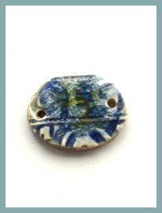 Stoneware Ceramic Bracelet Bead, Blue Crackle Glaze with Lime Green Frit Glass, Handcrafted Bead, Handmade Ceramic Necklace Connector by LemonIslandTreasures on Etsy