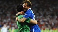 Alessandro #Diamanti hugs Gianluigi #Buffon after scoring the winning penalty