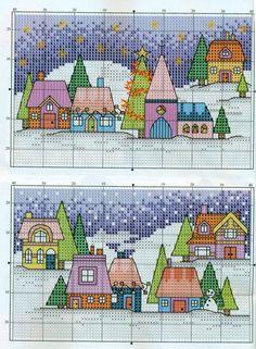 Christmas Houses cross stitch pattern
