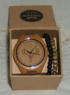 A Wonderfully Authentic Native-American look to this Watch + Wooden Beaded Bracelets #McNeilGraphix #PurchasesMadeSimple #Amazon #AmazonPrime #WONBEE #WONBEEBambooWoodWatchesDeerSkullDesign