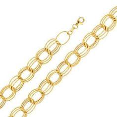 "14k Yellow Gold Designer Link Bracelet (Length: 8""""; Measures: 12.0mm; Weight: 5.4 Grams Approx.)"