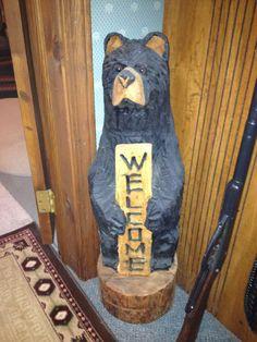30 inch tall cedar carved bear  $150.00