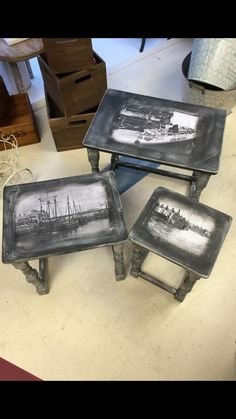 Nest of tables painted in Annie Sloan chalk paint Graphite Old White wash and some old Holyhead pictures decoupaged in them