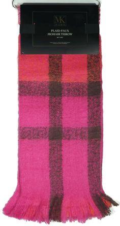 9b8821a36c60b4 Plaid Faux Mohair Throw 50 x 60 Pink Orange Purple Cream Plaid MK Home