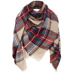 """Simplicity 55"""" x 55"""" Blanket Scarf Wrap Shawl Plaid Tassel Pashmina at... ($20) ❤ liked on Polyvore featuring accessories, scarves, plaid wraps shawls, tartan plaid shawl, wrap shawl, tartan scarves and plaid scarves"""