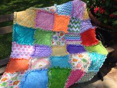 Elephant rag quilt - pastel rag quilt - baby rag quilt