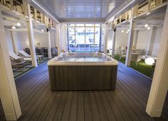 Outdoor showroom with wpc decking in Naples Marina Classic Antracite by Skema Wpc Decking, Outdoor Flooring, Naples, Showroom, Design, Parquetry, Design Comics