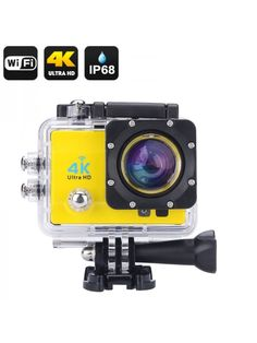 Generic Wi-Fi Waterproof Sports Action Camera - Ultra Hd, 170 Degree Wide Angle, 2 Inch Lcd Display, Hdmi Out (Yellow) Wi Fi, Bass Fishing Videos, Latest Camera, Eifel, Sports Camera, Lcd Monitor, Wide Angle, Camcorder, Yellow