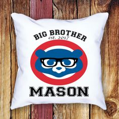 Chicago Cubs / Big Brother Throw Pillow / 14x14 / 16x16 / Personalized / Custom made/ World Series winner by JamminThread on Etsy