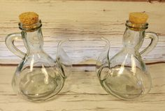 Pair of Vintage Italian Aqua or Green Glass Cruets Bottles Cork Stoppers Italy