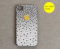 iPhone 4 case, iphone 4s case, white case for iphone - black dots yellow apple logo - iphone 4 cover, iphone 4s cover, iphone accessories. $21.00, via Etsy.