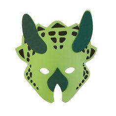 Groen dinosaurus masker met groene hoorns. Dit groene dinosaurusmasker is 18cm groot.