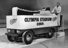 A staff member of Olympia Stadium rides the ice maker to prepare the rink for play in (The Detroit News) Detroit Sports, Detroit News, Detroit Michigan, Detroit Tigers, Hockey Party, Ice Hockey, Olympia Stadium, Red Wings Hockey, Detroit History