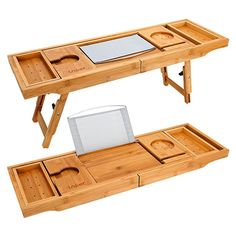 Expandable Luxury Wood Bathtub Caddy Tray – Bamboo Laptop Bed Desk Tray with Two Scalable and Adjustable Feet, Bathtub Tray and Bathroom Organizer for Any Size Bath Tub Built in Wineglass, Phone, Book, Pad ,Tablet Holder