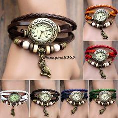 2014 nieuwe mode lederen retro vintage uil hanger weven wrap armband horloge quartz horloge voor vrouwen dame 19429 7 kleuren