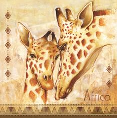 Decoupage Paper Napkins , Rice Paper, Party Napkins, by Chiarotino Decorative Paper Napkins, African Giraffe, African Artwork, Paper Napkins For Decoupage, Giraffe Art, Funny Animal Quotes, Party Napkins, Zoo Animals, Mother And Child
