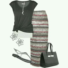 Long skirt and casual top