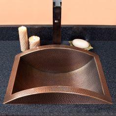 Gorgo Hammered Semi-Recessed Copper Sink - Antique Copper - powder room