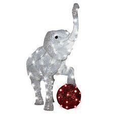 gemmy sparkle elephant with led red lights christmas yard decoration - Christmas Elephant Outdoor Decoration