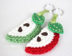 Crochet Apple Slice Keychain - Repeat Crafter Me