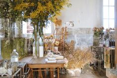 the French chateau home of artist Claire Basler. For more artists' homes visit www.ompomhappy.com #French #chateau #interiors #interior design #homedecor #art #artists #homes #flowers #ClaireBasler #studio