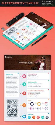 Flat Resume/CV Template on Behance