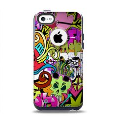 The Vibrant Colored Vector Graffiti Apple iPhone 5c Otterbox Commuter Case Skin Set