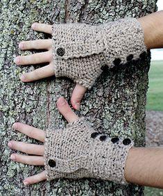 Weathertop fingerless mitts. Crochet DK.