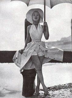 Vogue July 1954 by Eugene Vernier #1950s #vintage