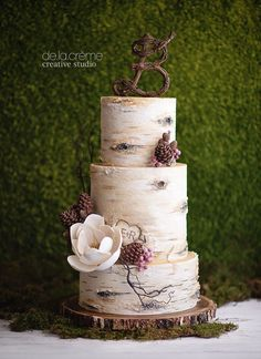 "One of the most realistic birch tree wedding cakes we've ever seen!  Edible pinecones made from modeling chocolate and a magnolia sugar flower  ~ we ❤ this! <a href=""http://moncheribridals.com"" rel=""nofollow"" target=""_blank"">moncheribridals.com</a>"