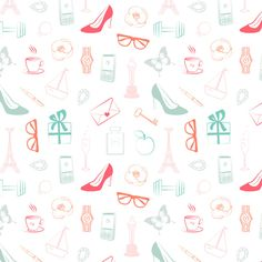 girl thing pattern fashion illustration