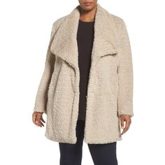Plus Size Women's Kenneth Cole New York Faux Fur Drape Collar Coat ($100) ❤ liked on Polyvore featuring plus size women's fashion, plus size clothing, plus size outerwear, plus size coats, ivory, plus size, pink fake fur coat, kenneth cole coats, wrap coat and plus size faux fur coat