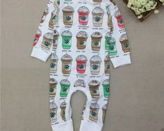 Baby boys and girls newborn - 24 month romper sleeper jumper outfit coffee cups starbucks inspired baby clothes baby shower gifts cute boutique clothes at tweedlebeedle.com