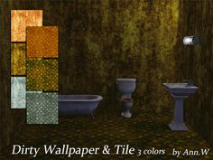 Dirty Wallpaper & Floor Set - 3 colors   Ann The Sims 4   Game CC Download