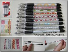 DIY Decorative Pens. Under $3 for a set of 5. Great teacher gift. - I love making these. You can even make your own by printing from your computer.