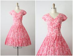 50s dress / cherry blossom dress / 1950s party by 1919vintage