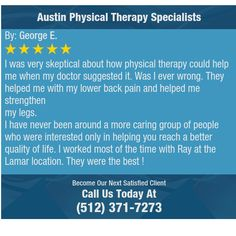 I was very skeptical about how physical therapy could help me when my doctor suggested it....