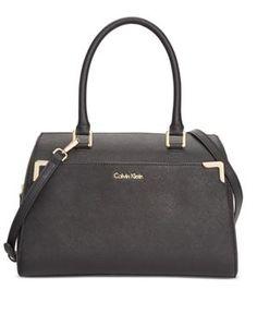 Calvin Klein On My Corner Saffiano Leather Satchel - Black