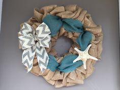Burlap Beach Wreath, Beach Wreath, Seashell Wreath, Starfish Wreath, Summer Wreath, Beach House, Nautical Wreath, Door Decor, Seashell by JAMDesignsNJ on Etsy