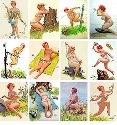 Wall Calendar 2017 [12 pages A4] Hilda Chubby PinUp Girl Redhead Vintage M419