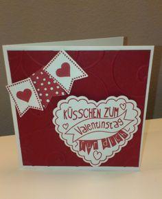 Karte Valentinstag, Hearts a flutter, Fähnchenfieber, Fähnchenstanze, Eine Kiste voller Grüße, Prägefolder Ranken, Valentines Card, Stampin' Up!